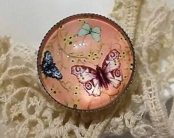 "ring round 25 mm; ""vintage butterflies"""
