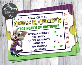 Chuck E. Cheese Birthday Party Invitation for Chuck E. Cheese Party Invites with Chuck E. and Tickets Digital Invite