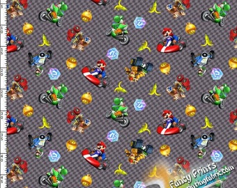 Digital printed fabric, Mario, swim fabric, brushed poly knit, minky  - YNO17050153-1 meter