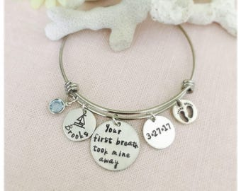 Your First Breath Took Mine Away Bangle, Mothers Day, Mom, Grandmom Stainless Steel Bangle