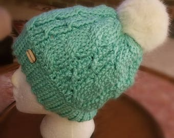 Cabled Hat with Pom Pom, Soft, Thick, Warm and BEAUTIFUL!! So Cozy!!