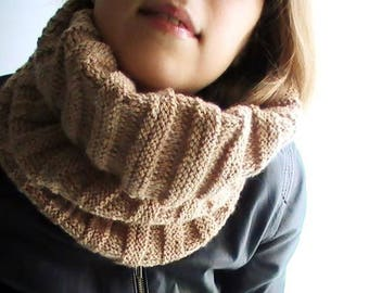 Beige acrylic scarf or Snood