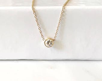 Dainty Diamond Solitaire Necklace / Diamonds by the yard necklace / Diamond Bezel Necklace / dot necklace / 14k solid gold necklace