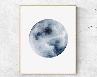 Watercolor Moon Print, Indigo Blue Moon Art, Full Moon Print, Moon Art Print, Watercolor Moon Poster, Celestial Print, Modern Wall Art
