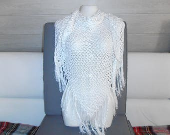 "shawl or scarf / white ""Tena"" all cotton."