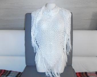 "shawl or scarf / white ""Tena"" all cotton."