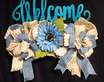 Welcome Floral Door Hanger, Welcome Decor, Wooden Welcome Hanger