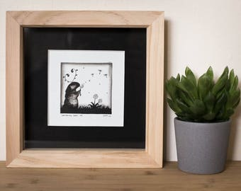FRAMED Little Original Painting - 'Dandelion Seeds' #01 - Cute character - Indian ink - Signed - Wall mountable wooden frame