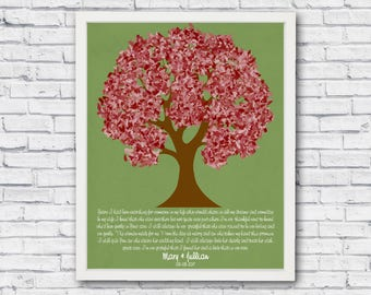 Mother of the bride personalized and printable tree poster to frame, wedding gift from groom to mother of bride, personalized tree wall art