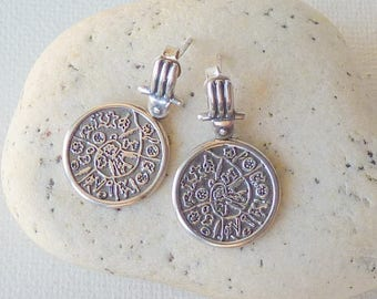 Greek Phaistos Disc Earrings Sterling Ancient Minoan Cretan Stud Silver Earrings,Greek Symbolic Sign, Mediterranean Mystery, Greek Jewelry