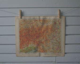 1928 Vintage Map of Eastern Alps