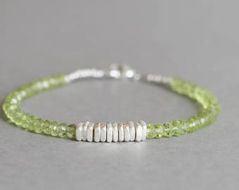 Peridot Bracelet August Birthstone Stacking Bracelet Beaded Bracelet Hill Tribe Silver Bracelet
