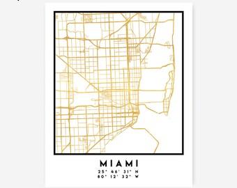 Miami Map Coordinates Print - Florida City Street Map Art Poster, Gold Miami Map Print, Miami Florida Coordinates United States Poster Map