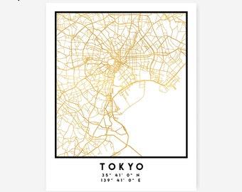 Tokyo Map Coordinates Print - Japan City Street Map Art Poster, Gold Tokyo Map Print, Tokyo Japan Coordinates Japanese Poster Print Map Art
