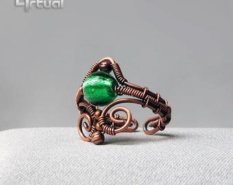 Adjustable ring, wire jewelry, copper ring, wire ring, gift for her, statement ring, wire wrapped jewelry, boho ring, gift idea, green ring