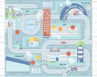 Table Car Playmat , City and Roads Play, Small Cars Play Mat,