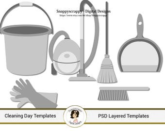 Cleaning Tools  Photoshop Layered Templates, PSD Layered Templates