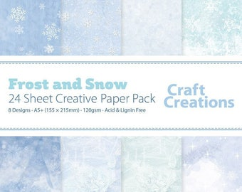 Christmas Craft Paper FROST AND SNOW 120gsm A5+ Decorative Patterned Blue Card Making Scrapbook Paper - 24 Sheets 8 Designs