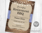Retirement Party Invitation BBQ Party Dinner Retired Invite INSTANT DOWNLOAD Blue Navy Wood Printable Editable Womens Mens Rustic Lights