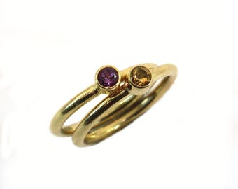 14k Gold ring with amethist or citrine