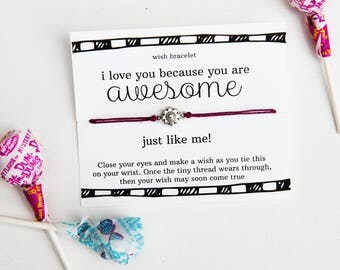 Because You're Awesome Wish Bracelet, Boyfriend Gift, Friendship Bracelet, Anniversary Gift, Best Friend Jewelry, I love you because
