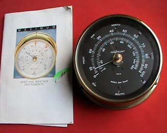 Vintage Maximum Maestro Brass wind speed and direction gauge only