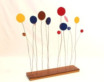 "Copper Sculpture ""Balloons in the Wind"" painted & natural balloon art on redwood stand - moves in the breeze"