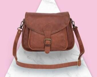 Brown Leather Saddle Bag - Small Cross Body Bag - MAHI Leather