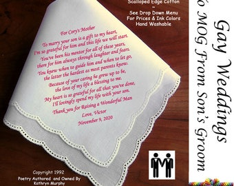 Gay Weddings ~ Mother of the Groom Hankie From Her Son's Groom G802 Sign & Date Free!  Wedding Handkerchief Gay Wedding LGBT