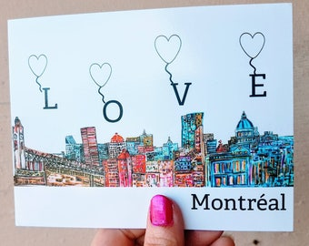 Small map postcard Decorative Montreal love