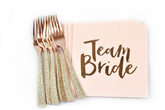 10pc Foiled Rose Gold Script Team Bride Luncheon Napkin, Light Pink Bachelorette Napkin, Rose Gold Bachelorette Bridal Shower Napkin, Blush