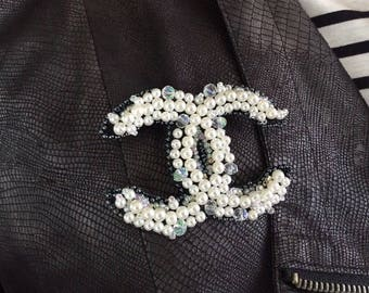 Inspired by Chanel pearl crystal CC emroidered brooch pin handwork beadwork brooch beaded brooch Chanel