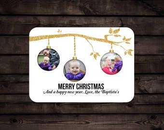 Simple Photo Christmas Card// Christmas Baubles