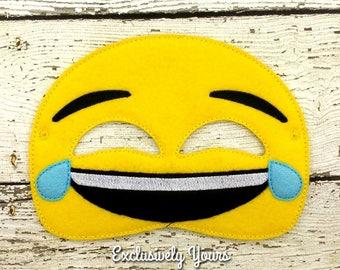 Laugh Emoji Childrens Felt Mask  - Costume - Theater - Dress Up - Halloween - Face Mask - Pretend Play - Party Favor