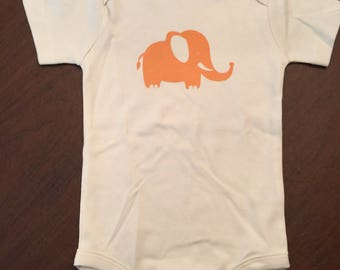 Elephant Organic Cotton Baby Clothes Custom Screen Printed Onesie 12-18mo