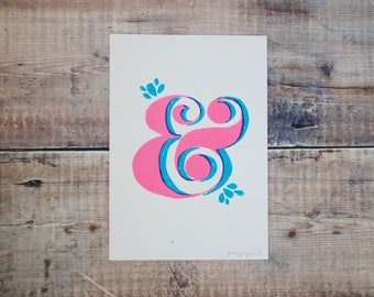 Pink & Green Ampersand A5 Print - Screen Print - Illustration - Wall Art - Decorative Print