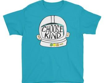 Youth - Choose Kind Helmet Shirt - Youth Short Sleeve T-Shirt Youth Kid Shirt Kids T-Shirt Girls Shirt Boys Shirt