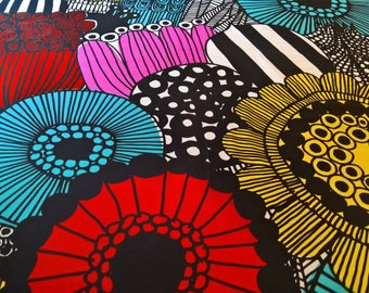 "Marimekko SIIRTOLAPUUTARHA 100% Cotton Fabric Maija Louekari Black White Colorful!! 23"" or 5/8 yard"