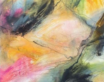 J. Taylor Abstract art Original painting on paper, FRAMED artwork, modern contemporary art, multi-coloured expressive colourful pinks peach