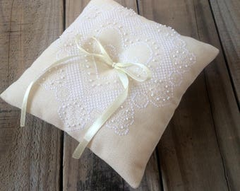 Ivory wedding ring pillow Bridal ring bearer pillow Personalized with bride groom initials White lace heart ring bearer Embroidered pillow