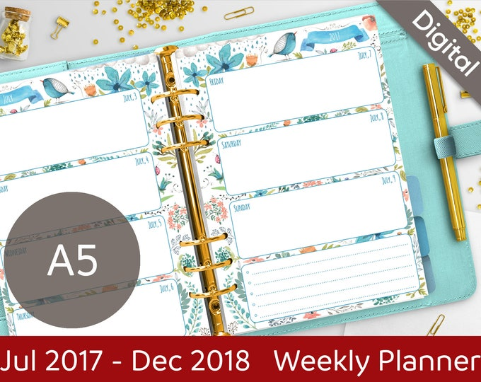 A5 2017-2018 Weekly Planner Printable, Wo2P Printable Refills, Filofax A5 Inserts, Dated planner, Arinne Blue Bird, PDF Instant Download