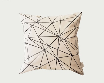 Pillow, Cream, Unbleached cotton, Black Triangles Details, Square Decorative Pillow Case, Zipper