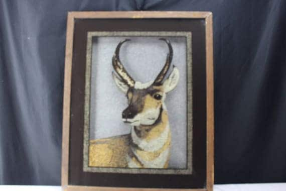 Tom Cryer Reverse Painted Glass Pronghorn Antelope Shadow Box Frame 1980 Wildlife Cabin Decor