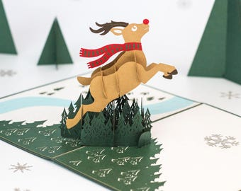 Reindeer Card, Reindeer Pop Up Card, Christmas Reindeer Card, Reindeer card, Xmas Reindeer Card, Reindeer Pop Up Card