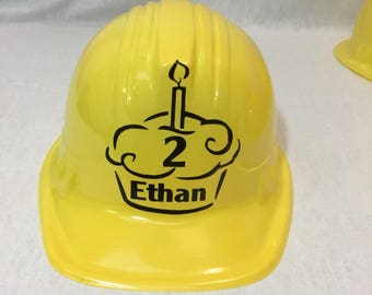 Personalized Construction Hat with name, age 1 set of 4