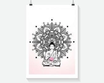 Buddha Print - Home Decor - Hippie Art Print -  Art Print - Summer Print- Floral Print- Supernatural