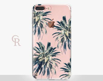 Palm Tree iPhone 7 Case - Clear Case - For iPhone 8 - iPhone X - iPhone 7 Plus - iPhone 6 - iPhone 6S - iPhone SE Transparent - Samsung S8