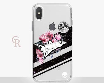 Space Clear Phone Case For iPhone 8 iPhone 8 Plus iPhone X Phone 7 Plus iPhone 6 iPhone 6S  iPhone SE Samsung S8 iPhone 5 Astronaut Nasa UFO