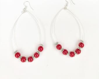 Red and Silver Large Hoop Earrings