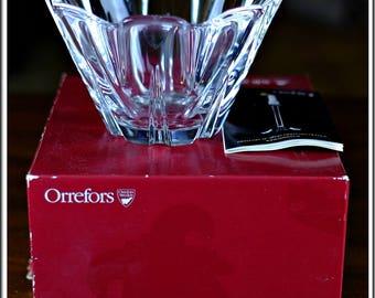 Vintage Near Mint Orrefors Sweden Crystal Pand Glass Bowl Heavy w/ Original Box